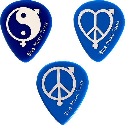 Médiators pour guitare Blue Turtle Delrin 500 | série Peace&Love